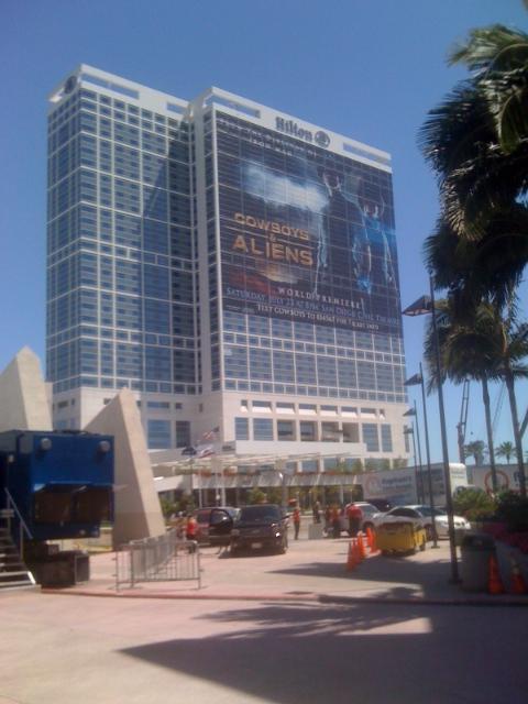 Cowboys & Aliens advertisement on the Hilton