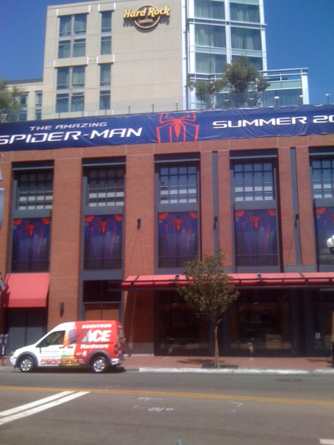 The Amazing Spider-Man advertisement on the Hard Rock