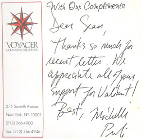 Note from Voyager Communications